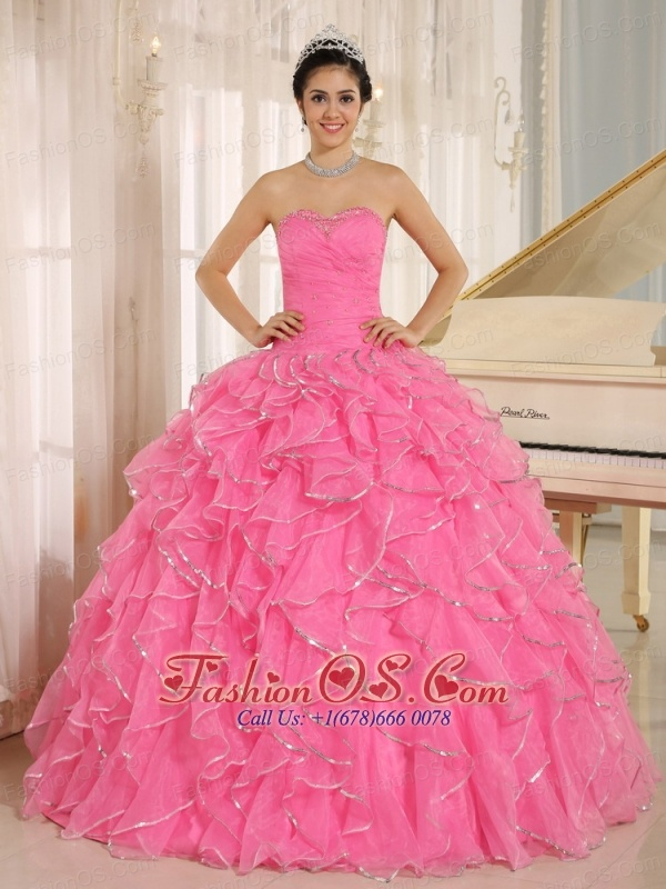 2013 Ruffles and Beaded For Rose Pink Quinceanera Dress Custom Made ...