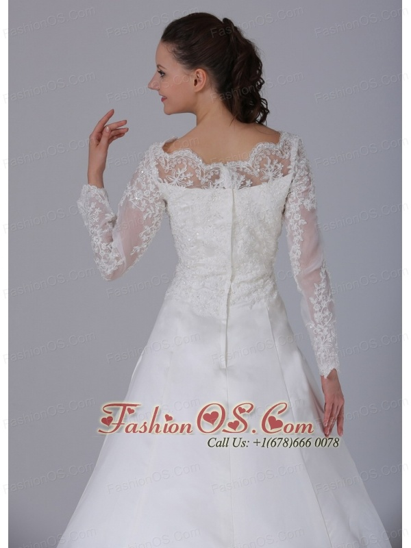 A-line V-neck Long Sleeves Lace Decorate Wedding Dress With Court Train In Bloomfield Connecticut
