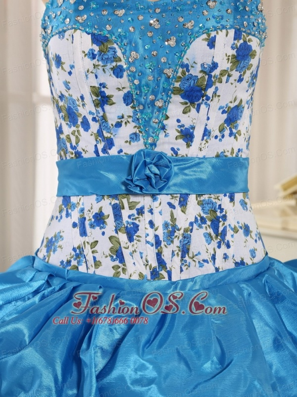 Beaded and Pick-ups For Aqua Blue Quinceanera Dress Taffeta and Printing In Hanalei City Hawaii