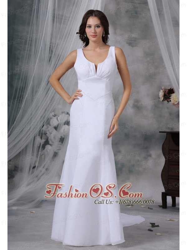 Beaded Decorate Bodice Watteau Train Chiffon Scoop Simple Style Wedding Dress For 2013