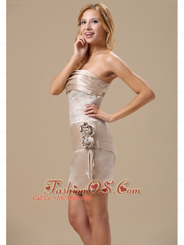 Champagne Strapless Hand Made Flowers and Lace For Homecoming Dress In Boston Massachusetts