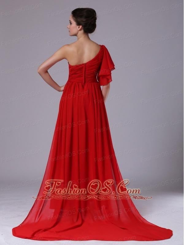 Chiffon One Shoulder Beading Red Watteau 2013 Evening Dress