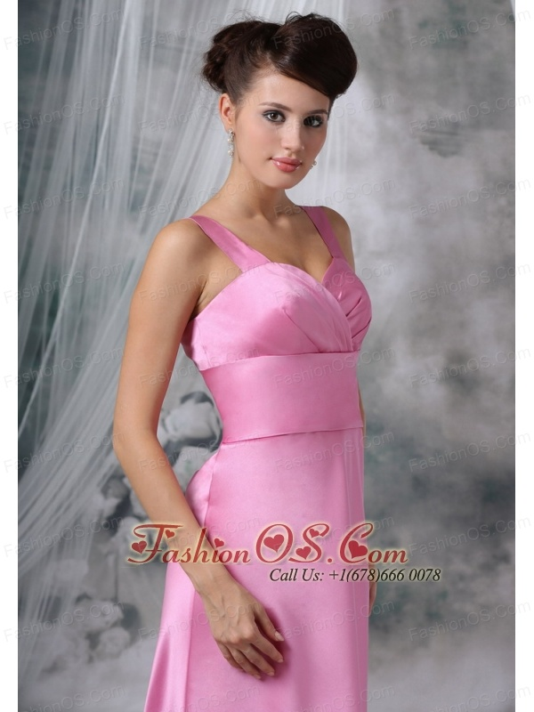 Clinton Iowa Custom Made Straps Floor-length Satin Pink Bridesmaid Dress For 2013