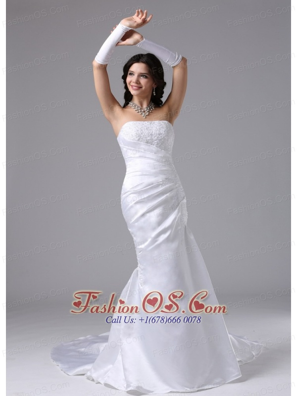 Column Strapless and Lace For Romantic Wedding Dress In Carson California Brush Train