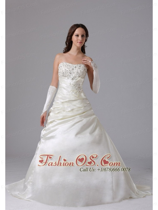 Custom Made A-line Appliques and Ruch Roamntic Wedding Dress With Court Train
