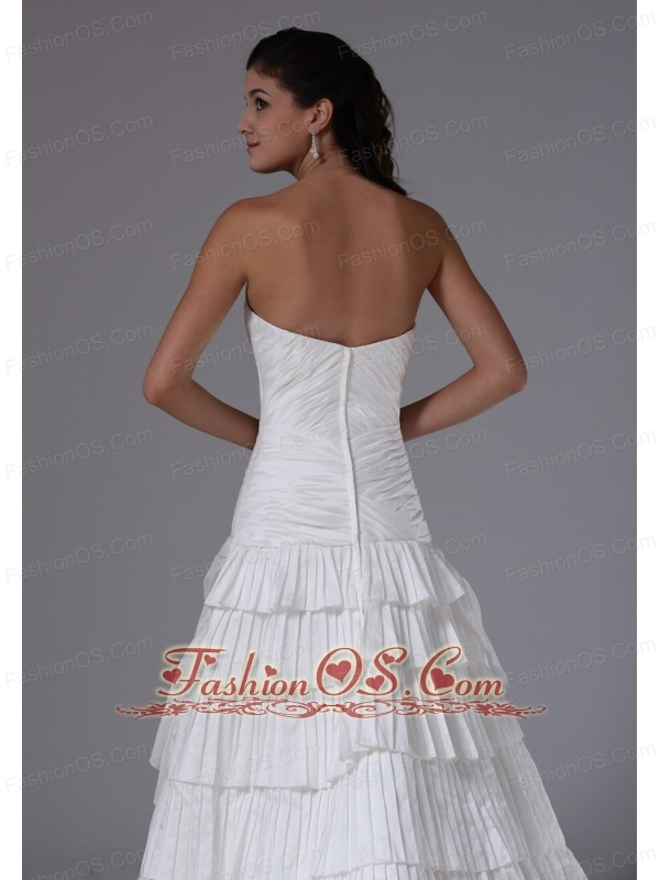 Custom Made Bridgeport Connecticut City Ruffles Sweetheart Ruched Decorate Bust 2013 Wedding Dress With Taffeta