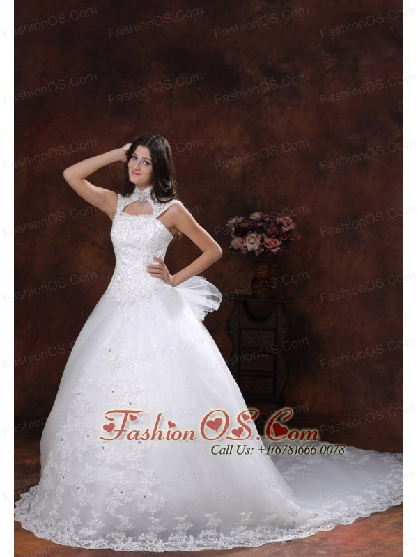 Custom Made High Neckline Muslim Wedding Dress With Chapel Train Lace Over Shirt In Cottonwood Arizona