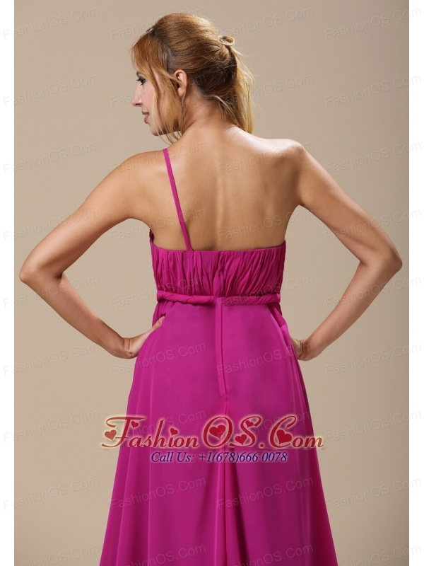 Custom Made One Shoulder Hand Made Flowers In Hartford City For Bridesmaid Dress