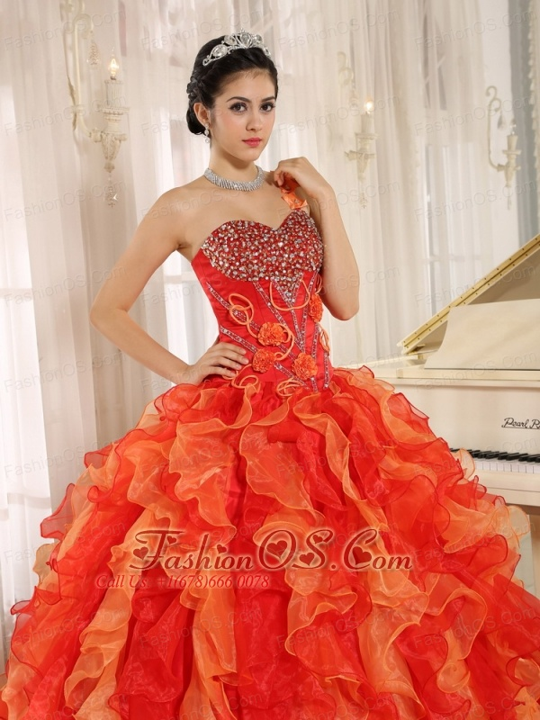 Custom Made Orange Red One Shoulder Beaded Decorate  Ruffles Mendoza Quinceanera Dress In Spring