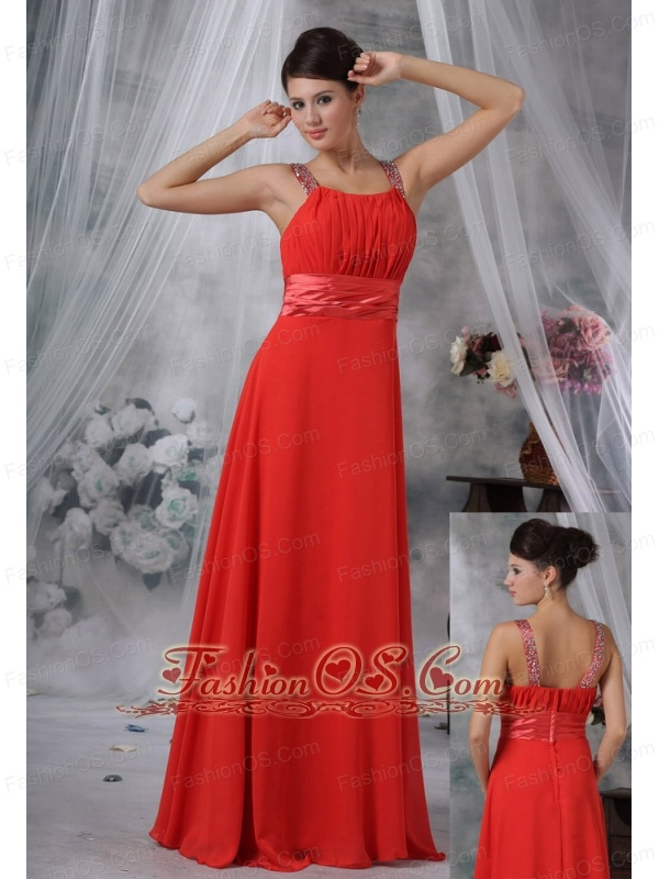 Decorah Iowa Beaded Decorate Straps Ruched Bodice Red Chiffon Floor-length For 2013 Prom / Evening Dress