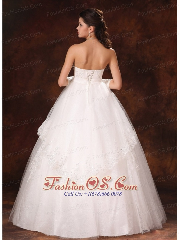 Designer Ball Gown Strapless Appliques And Hand Made Flower Church Wedding Dress For 2013 Custom Made