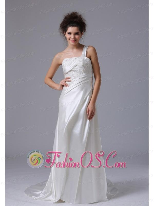 Elegant One Shoulder Column Beading Taffeta Court Train Wedding Dress