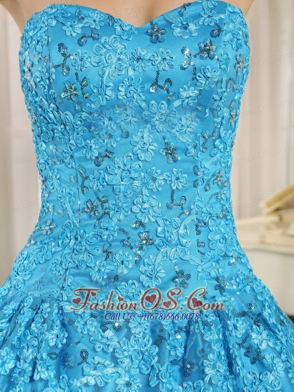 Embroidery and Sequins On Tulle Sweetheart Teal Quinceanera  Dress 2013 In El Alto City