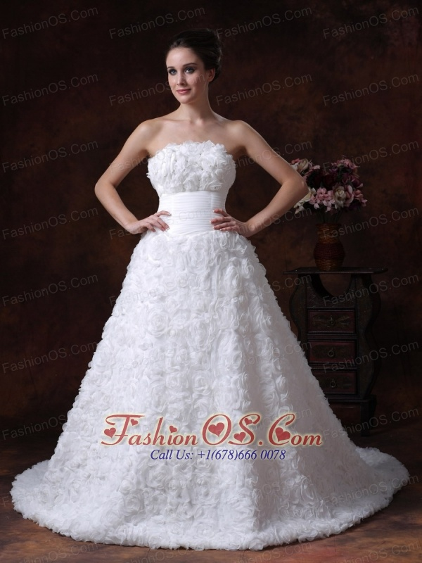 Fabric With Rolling Flowers Strapless A-Line / Princess Modest Chapel Train 2013 Wedding Dress