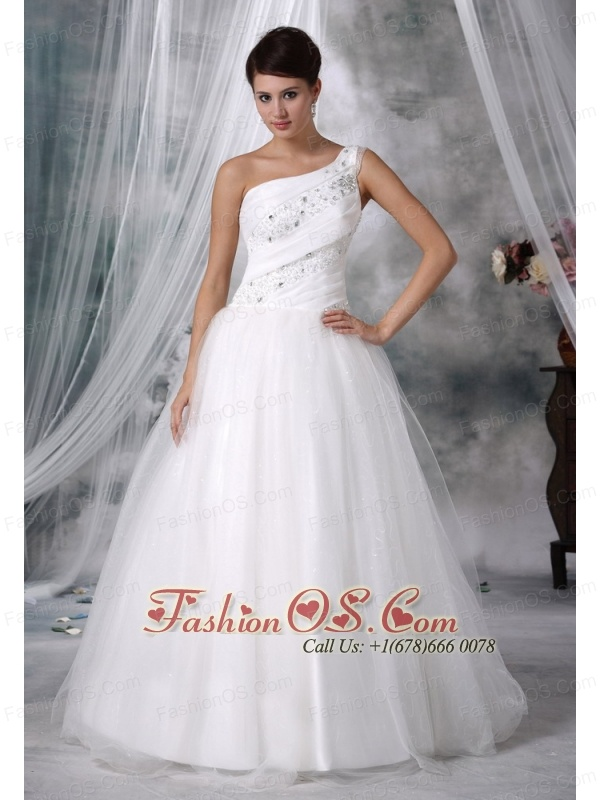 Fort Madison Iowa One Shoulder Beaded Decorate Up Bodice Taffeta and Organza Wedding Dress For 2013