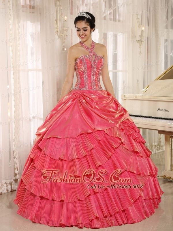 Halter Watermelon Red Pleat 2013 Quinceanera Dress With Beaded Bodice In Tarija City