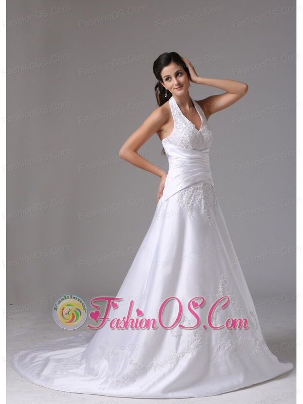 Hamden Connecticut Custom Made A-line Halter Wedding Dress With Embroidery and Ruch In 2013