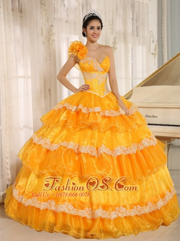 Hand Made Flowers Decorate One Shoulder Appliques and Ruffled Layers For 2013 Quinceanera In Antioch California