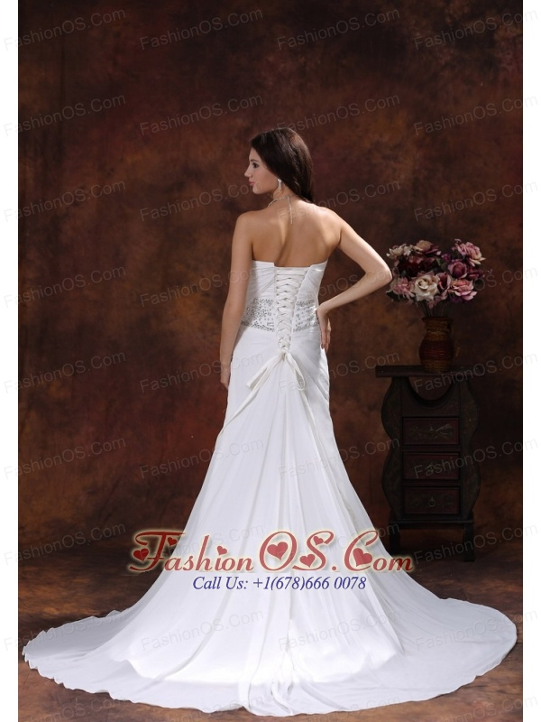 Column Chiffon Wedding Dress With Beaded Decorate Waist
