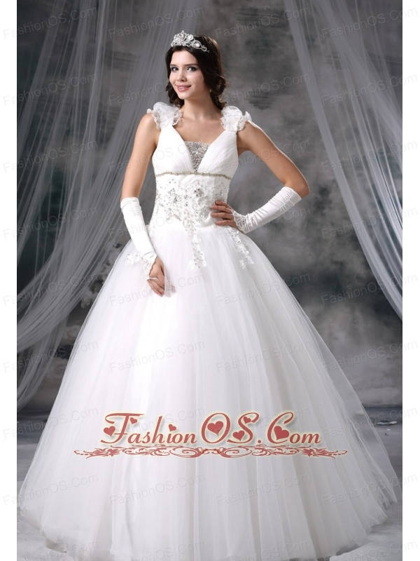 Jefferson Iowa Appliques With Beading Hand Made Flowers Ball Gown Tulle Floor-length 2013 Wedding Dress For Lovely Style