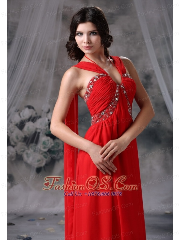 Johnston Iowa Beaded Decorate Bust Ruch Red Chiffon Halter Watteau Train 2013 Prom / Evening Dress