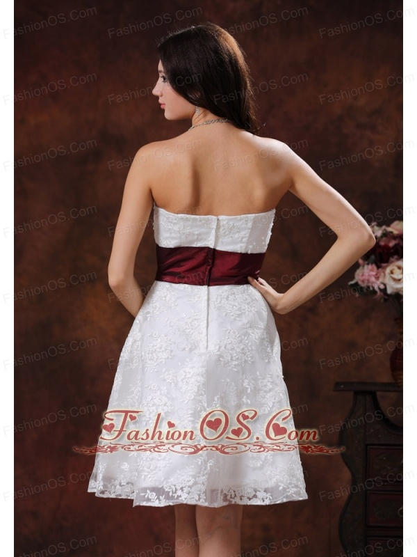 Lace Over Shirt Elegant Short Wedding Dress With Wine Red Belt In Selma Alabama