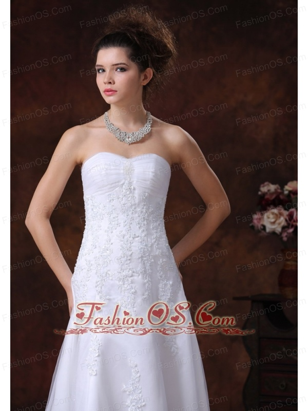Lace Sweetheart A-Line Brush Romantic Wedding Dress With Beading
