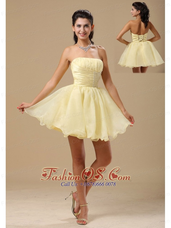 Light Yellow In Annapolis Maryland For Homecoming Dress With Beading and Ruch Bodice