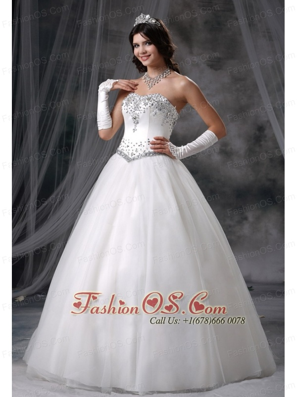 Logan Iowa Beaded Decorate Bodice Ball Gown Wedding Dress For 2013 Tulle Floor-length