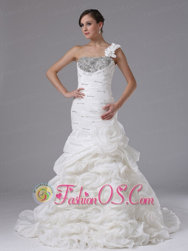 Mermaid One Shoulder Wedding Dress In Arroyo Grande California With Ruched Bodice Ruffled Layers