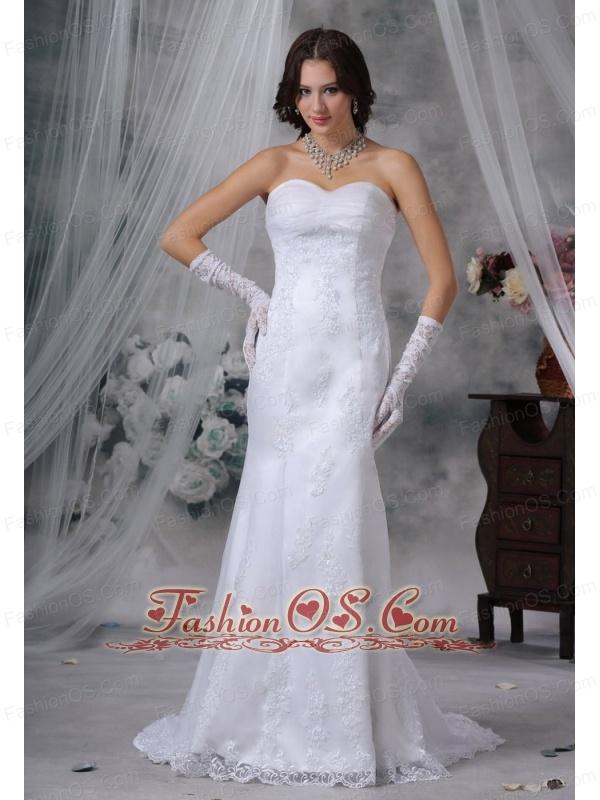 Mount Pleasant Iowa  Lace Decorate Bodice Mermaid Sweetheart Neckline Brush Train Wedding Dress For 2013