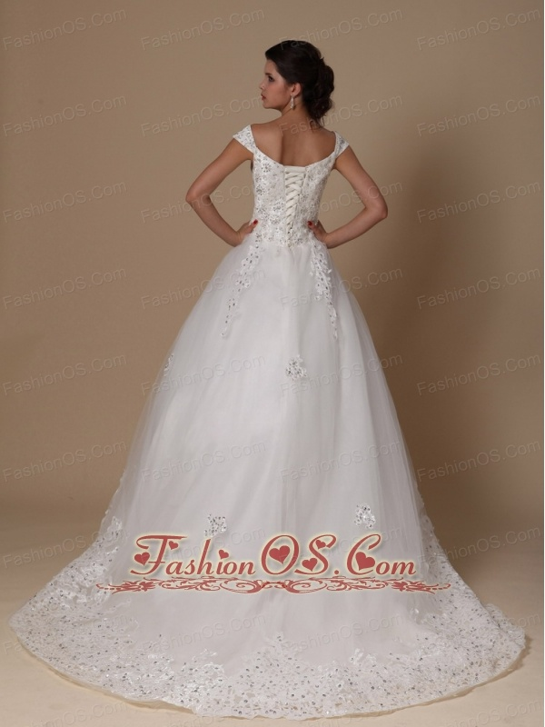 Off The Shoulder A-line Appliques Tulle Church Court Train 2013 New Styles Wedding Dress For Custom Made