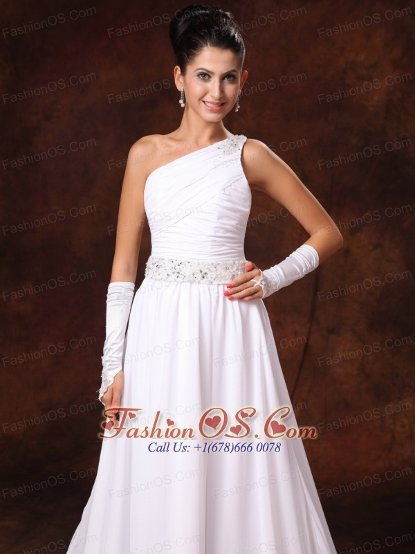 One shoulder empire beaded decorate waist chiffon court for Wedding dresses low cost