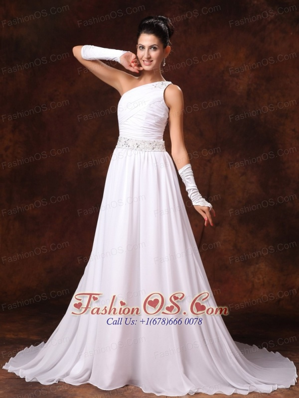 One Shoulder Empire Beaded Decorate Waist Chiffon Court Train Garden Low Cost Wedding Dress For 2013