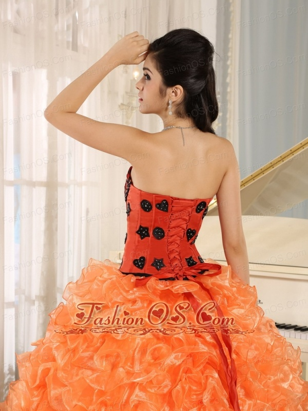 Orange Ruffles Appliques Sweetheart Quinceanera Dress Leopard For 2013 In Honaunau City Hawaii
