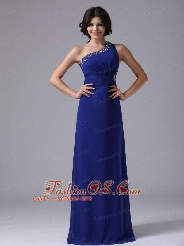 Peacock Blue and Beaded Decorate One Shoulder In Brea California For Prom Evening Dress