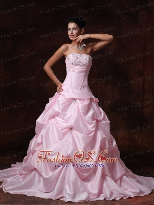 Pick-ups Pink Strapless A-Line Chapel Train Taffeta Customize 2013 New Styles Wedding Dress