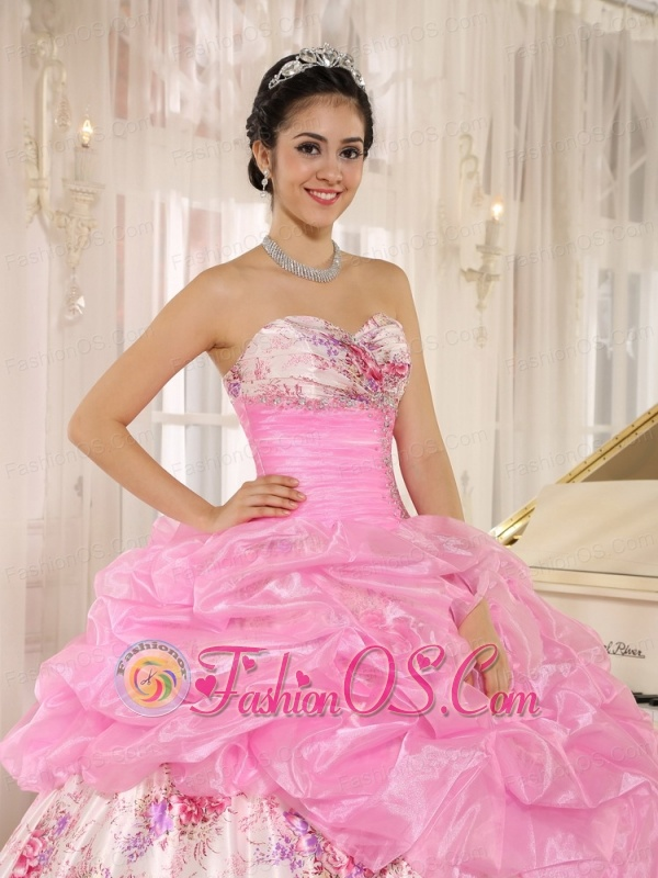 Printing Sweetheart Beaded and Pick-ups For Rose Pink Quinceanera Dress For Custom Made In Kula City Hawaii