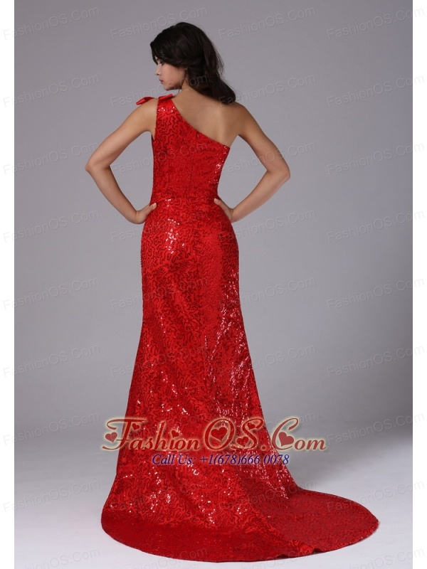 Red One Shoulder and Paillette Over Skirt In Arcadia California For Evening Dress Brush Train