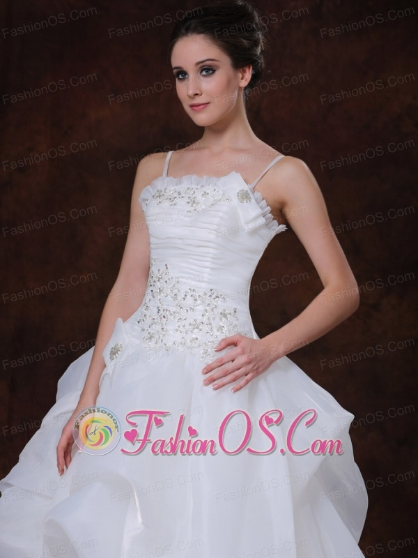 Spaghetti Strap A-Line Organza Beading Wedding Dress 2013 Court Train