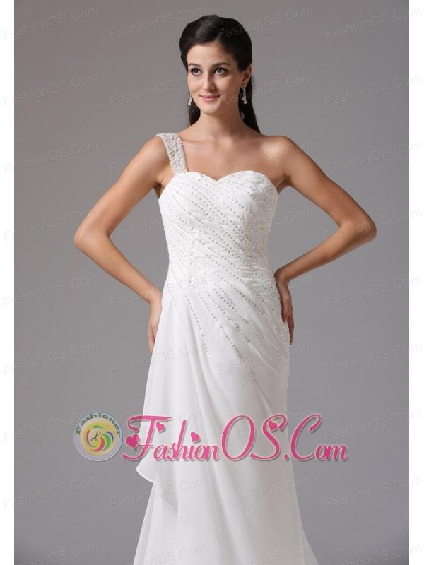 Stylish Column One Shoulder Wedding Dress Appliques Decorate Bust Chiffon Court Train  In Farmington Connecticut