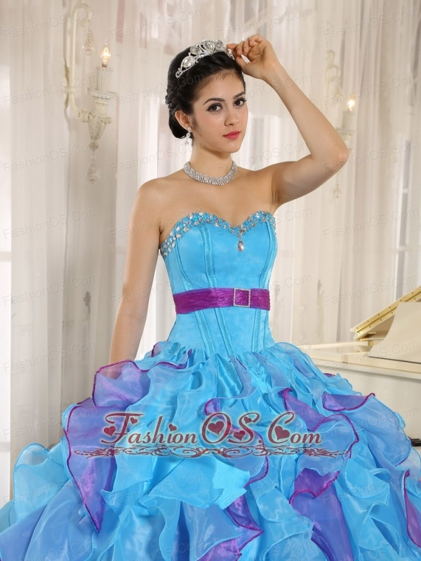 Stylish Multi-color Sweetheart Ruffles With Appliques 2013 Quinceanera Dress In New York