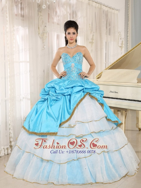 Sweetheart Beaded and Pick-ups For Aqua Blue and White Quinceanera Dress Ruffled Layers In Kailua-Kona City Hawaii