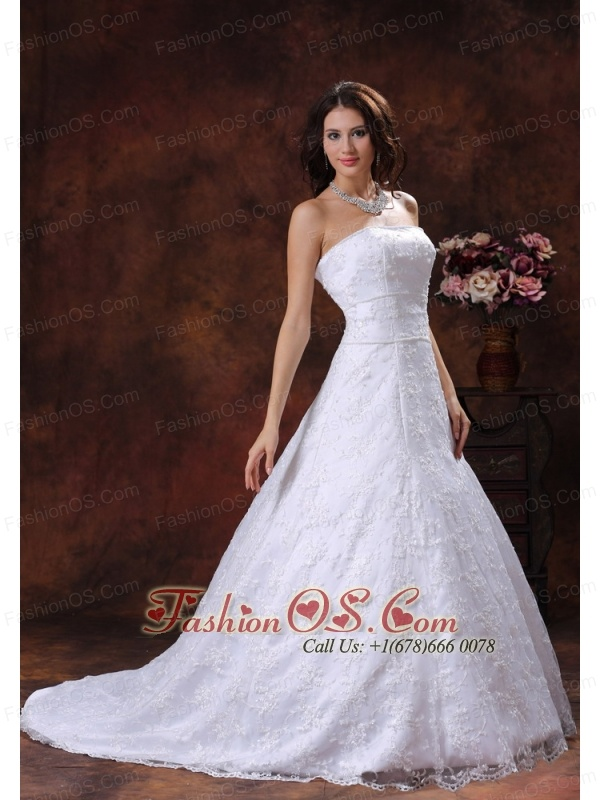 Troy Alabama Custom Made Strapless Wedding Dress With Lace Over Shirt In Tuscaloosa Alabama