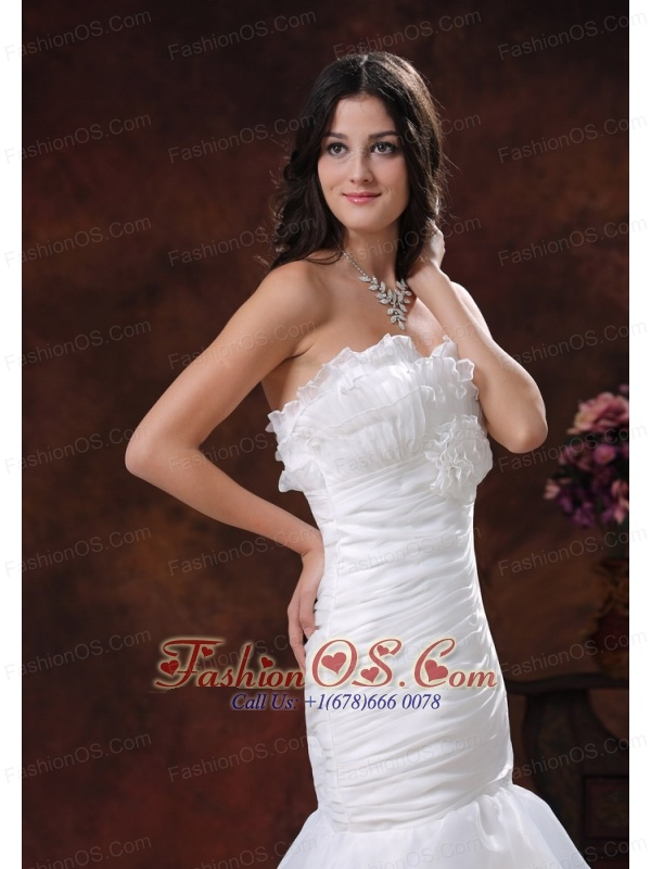 White Mermaid Strapless Organza Wedding Dress In 2013 Sedona Arizona With Ruffled Layers