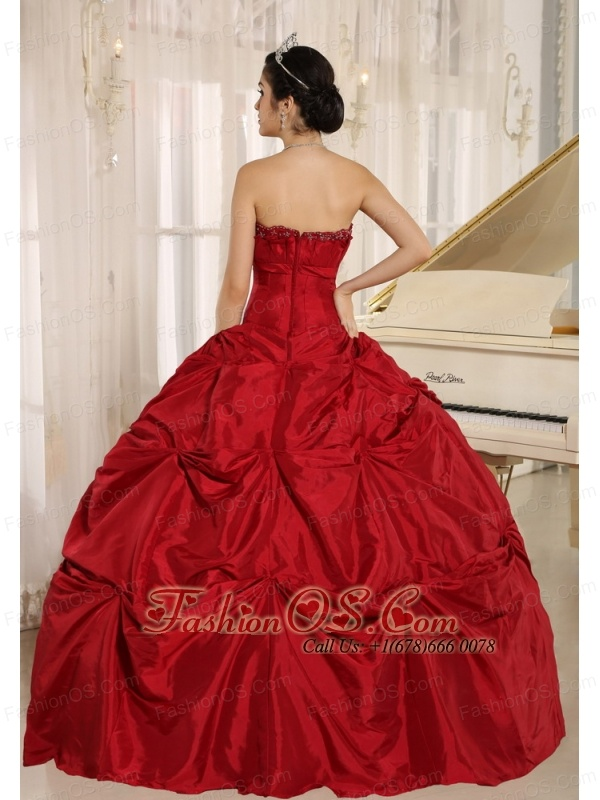 Wine Red Ball Gown Quinceanera Dress With Pick-ups For Custom Made Taffeta In Haiku City Hawaii