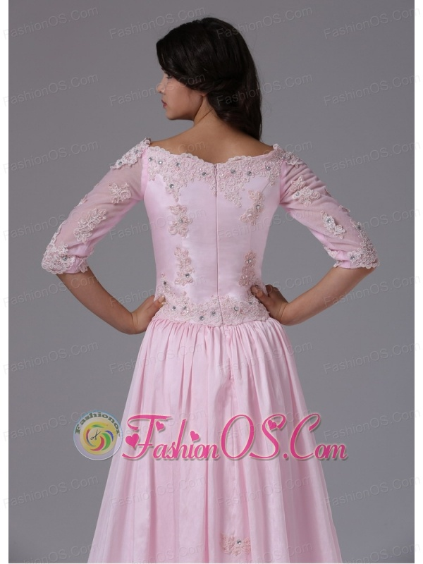 1/2 Sleeves and Appliques For 2013 Mother Of The Bride Dress With Taffeta In Brisbane California