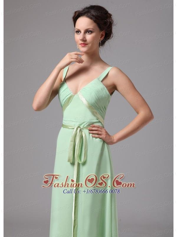 Apple Green Sash V-neck Straps Chiffon Mother Of The Bride Dress For Custom Made In Bainbridge Georgia