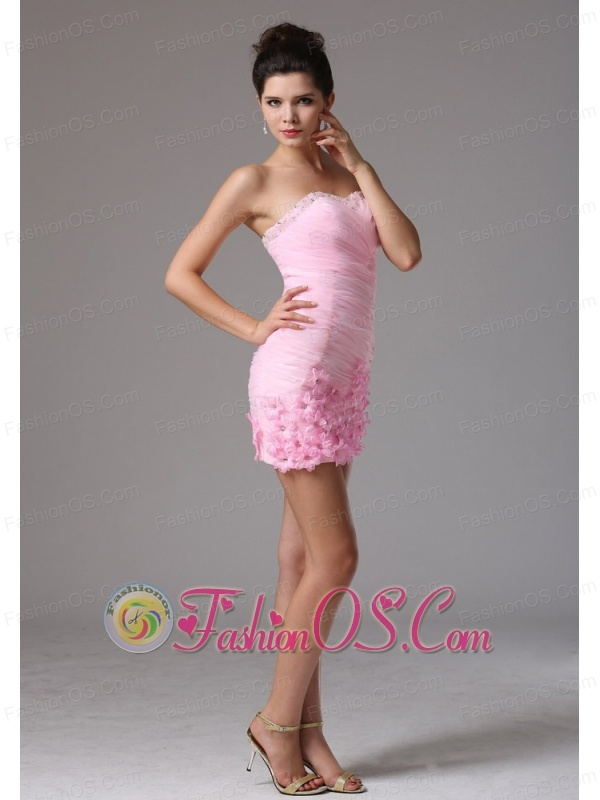 Arizona City Baby Pink Column Hand Made Flowers and Ruch 2013 Cocktail Dress With Sweetheart