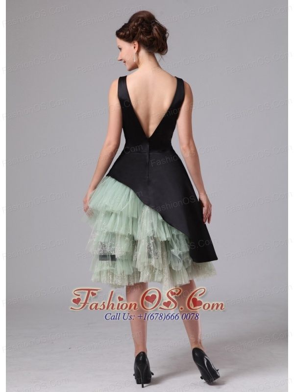 Atlanta Georgia Black and Green Straps Knee-length Mother Of The Bride Dress